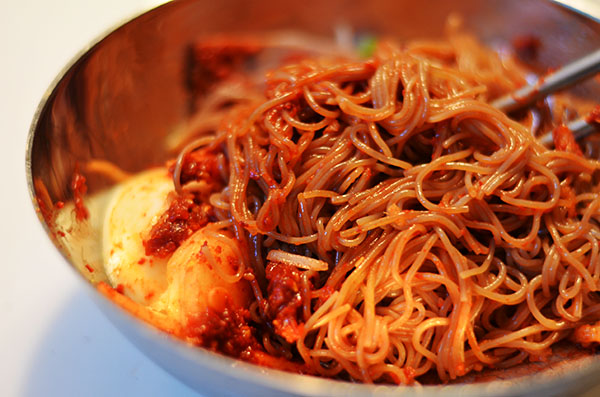 ... potato noodles cold chicken with a spicy sichuanese sauce liang ban ji