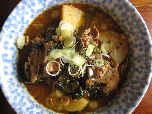 Korean Pork and Potato Soup with Perilla (Gamjatang)