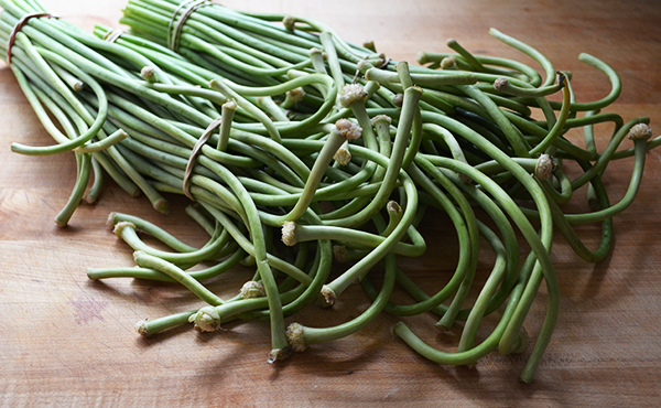 Curly garlic scapes.