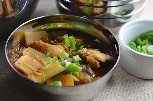 agu jjim or spicy Korean monkfish stew
