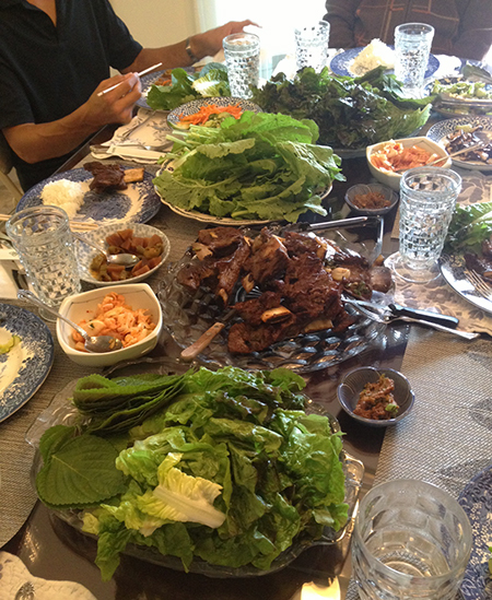 First dinner at my parent's house: kalbi and ssam.