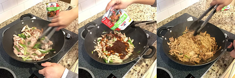 Sesame Chicken and Mushroom Lo Mein #WeekdaySupper #McSkilletSauce | www.kiimchimom.com