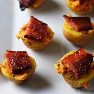Potato Kimchi Bacon Bites #SundaySupper