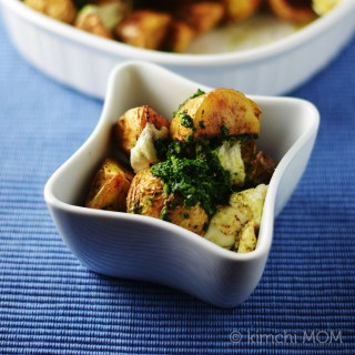 Indian Spiced Roasted Potatoes with Green Chutney #SundaySupper #FWCon | kimchimom.com
