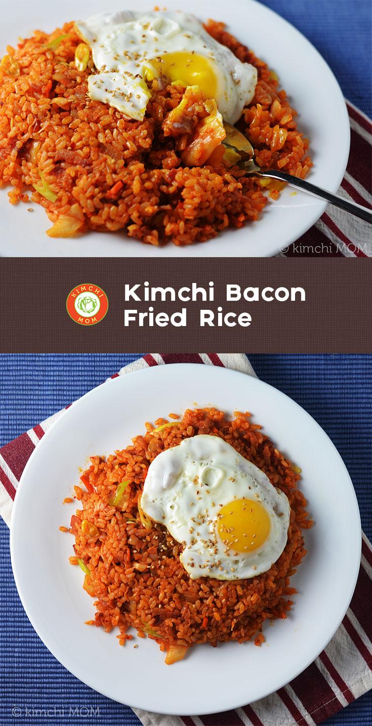 Kimchi Bacon Fried Rice #SundaySupper by @kimchimom