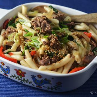 Beef Ddukboki (Non-Spicy Sautéed Korean Rice Cakes) #SundaySupper