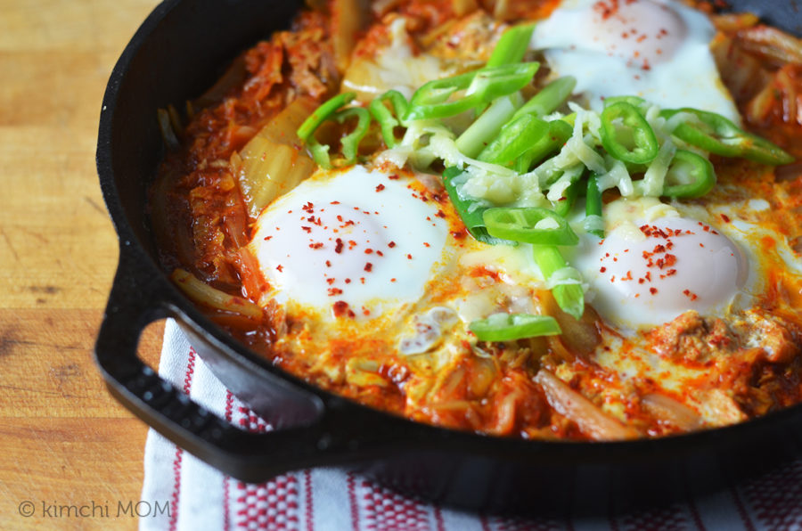 Eggs in tuna kimchi jigae for #BrunchWeek.